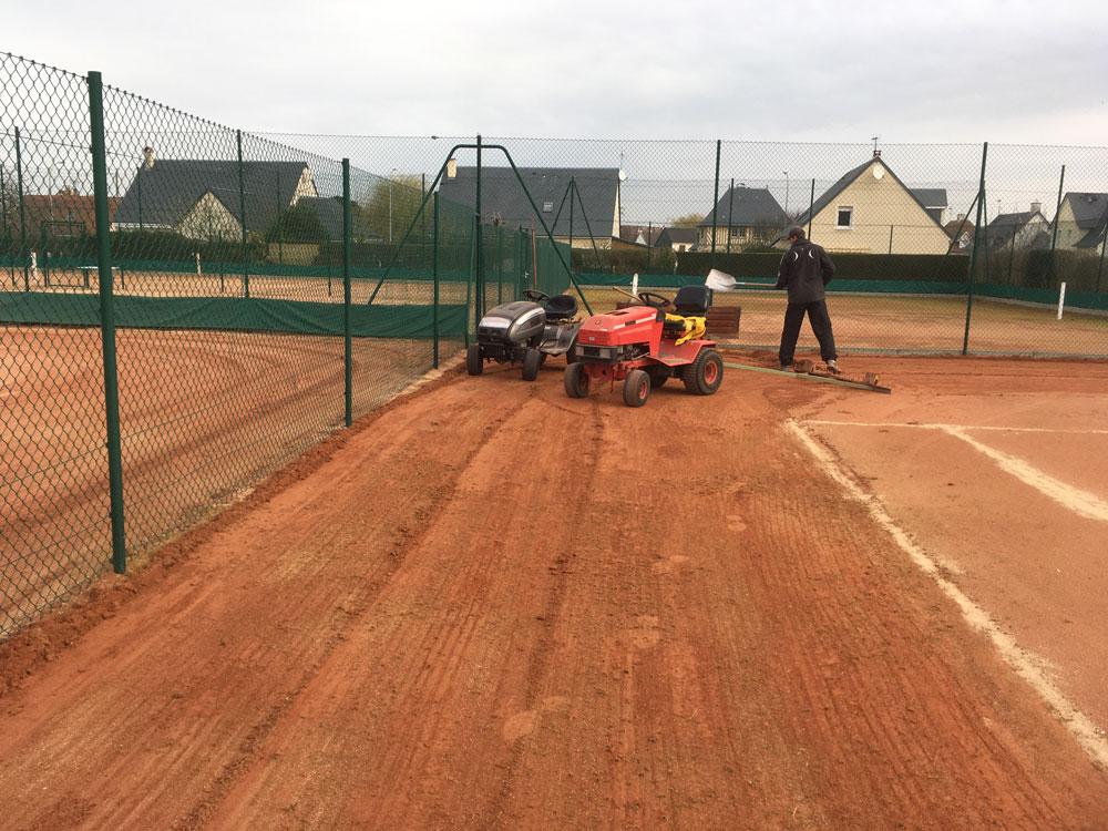 réfection des terrains en terre battue tennis villers sur mer